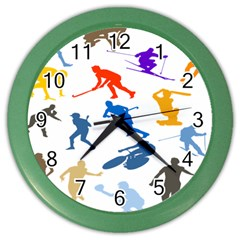 Sport Player Playing Color Wall Clocks by Mariart