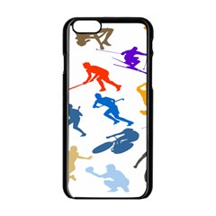 Sport Player Playing Apple Iphone 6/6s Black Enamel Case by Mariart