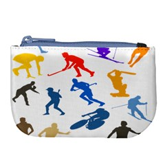 Sport Player Playing Large Coin Purse by Mariart
