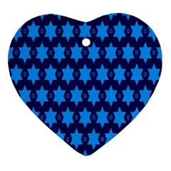 Star Blue Space Wave Chevron Sky Ornament (heart) by Mariart