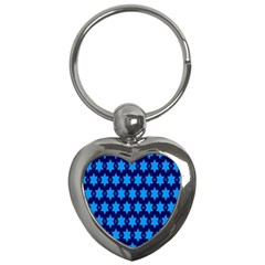Star Blue Space Wave Chevron Sky Key Chains (heart)  by Mariart