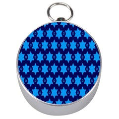 Star Blue Space Wave Chevron Sky Silver Compasses by Mariart