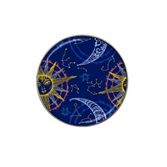 Sun Moon Seamless Star Blue Sky Space Face Circle Hat Clip Ball Marker (4 Pack) by Mariart