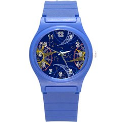 Sun Moon Seamless Star Blue Sky Space Face Circle Round Plastic Sport Watch (s) by Mariart