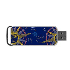 Sun Moon Seamless Star Blue Sky Space Face Circle Portable Usb Flash (two Sides) by Mariart