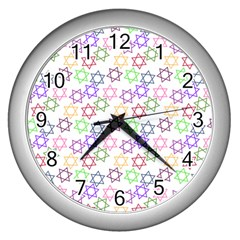 Star Space Color Rainbow Pink Purple Green Yellow Light Neons Wall Clocks (silver)  by Mariart