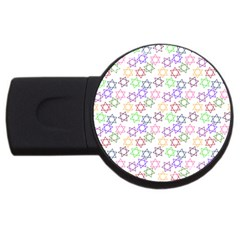 Star Space Color Rainbow Pink Purple Green Yellow Light Neons Usb Flash Drive Round (4 Gb) by Mariart