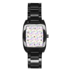 Star Space Color Rainbow Pink Purple Green Yellow Light Neons Stainless Steel Barrel Watch by Mariart