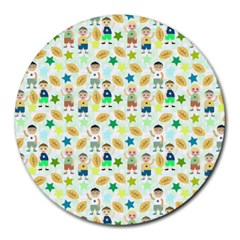 Kids Football Players Playing Sports Star Round Mousepads by Mariart