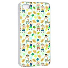Kids Football Players Playing Sports Star Apple Iphone 4/4s Seamless Case (white) by Mariart