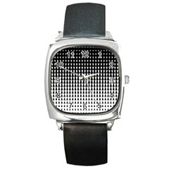 Triangle Black White Wave Chevron Square Metal Watch by Mariart