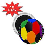 Team Soccer Coming Out Tease Ball Color Rainbow Sport 1 75  Magnets (10 Pack)  by Mariart
