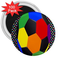 Team Soccer Coming Out Tease Ball Color Rainbow Sport 3  Magnets (100 Pack) by Mariart