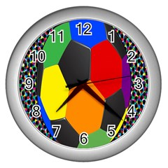 Team Soccer Coming Out Tease Ball Color Rainbow Sport Wall Clocks (silver)  by Mariart