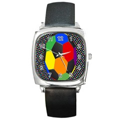 Team Soccer Coming Out Tease Ball Color Rainbow Sport Square Metal Watch by Mariart