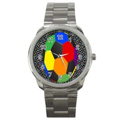 Team Soccer Coming Out Tease Ball Color Rainbow Sport Sport Metal Watch by Mariart
