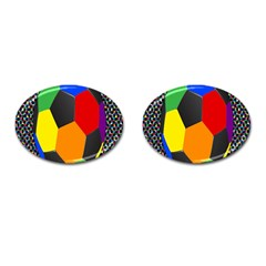 Team Soccer Coming Out Tease Ball Color Rainbow Sport Cufflinks (oval) by Mariart