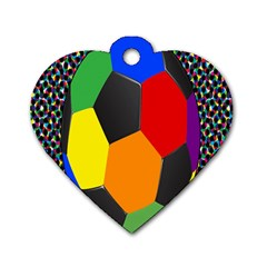 Team Soccer Coming Out Tease Ball Color Rainbow Sport Dog Tag Heart (one Side) by Mariart