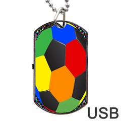 Team Soccer Coming Out Tease Ball Color Rainbow Sport Dog Tag Usb Flash (two Sides) by Mariart