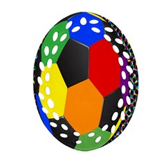 Team Soccer Coming Out Tease Ball Color Rainbow Sport Oval Filigree Ornament (two Sides) by Mariart