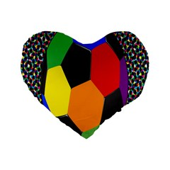 Team Soccer Coming Out Tease Ball Color Rainbow Sport Standard 16  Premium Flano Heart Shape Cushions by Mariart