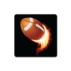 Super Football American Sport Fire Square Magnet