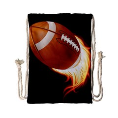 Super Football American Sport Fire Drawstring Bag (small) by Mariart