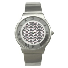 Tagged Bunny Illustrator Rabbit Animals Face Stainless Steel Watch by Mariart