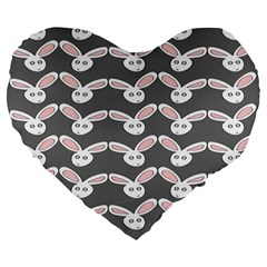 Tagged Bunny Illustrator Rabbit Animals Face Large 19  Premium Flano Heart Shape Cushions by Mariart