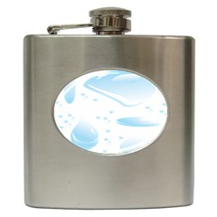 Water Drops Bubbel Rain Blue Circle Hip Flask (6 Oz) by Mariart