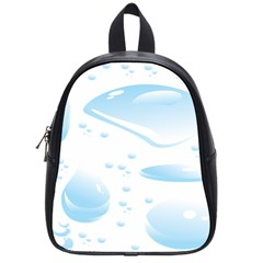 Water Drops Bubbel Rain Blue Circle School Bags (small)  by Mariart