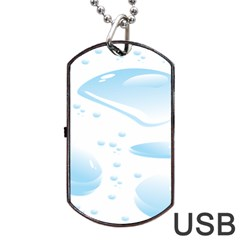 Water Drops Bubbel Rain Blue Circle Dog Tag Usb Flash (one Side) by Mariart