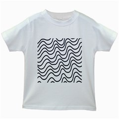 Wave Waves Chefron Line Grey White Kids White T Shirts
