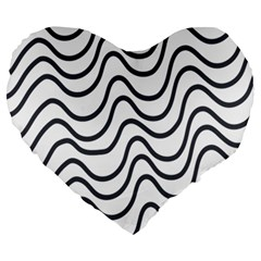 Wave Waves Chefron Line Grey White Large 19  Premium Heart Shape Cushions by Mariart