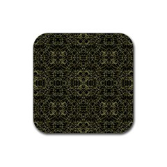 Golden Geo Tribal Pattern Rubber Square Coaster (4 Pack)  by dflcprints