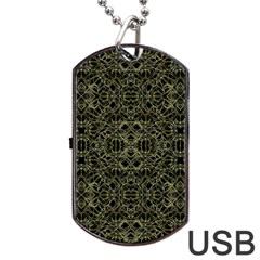 Golden Geo Tribal Pattern Dog Tag Usb Flash (one Side) by dflcprints
