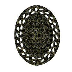 Golden Geo Tribal Pattern Oval Filigree Ornament (two Sides) by dflcprints