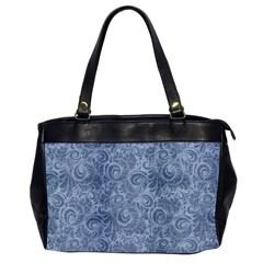 Blue Romantic Flower Pattern Denim Office Handbags (2 Sides)  by Ivana
