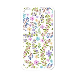 Twigs And Floral Pattern Apple Iphone 4 Case (white) by Coelfen