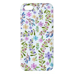 Twigs And Floral Pattern Apple Iphone 5 Premium Hardshell Case by Coelfen