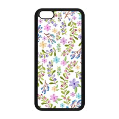 Twigs And Floral Pattern Apple Iphone 5c Seamless Case (black) by Coelfen