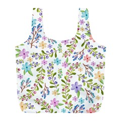 Twigs And Floral Pattern Full Print Recycle Bags (l)  by Coelfen