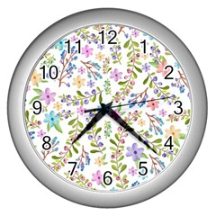 Twigs And Floral Pattern Wall Clocks (silver)  by Coelfen