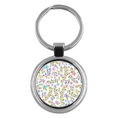 Twigs And Floral Pattern Key Chains (round)  by Coelfen
