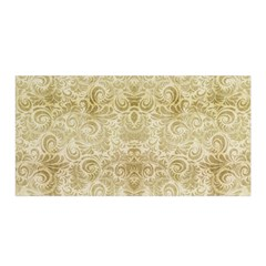 Gold Romantic Flower Pattern Satin Wrap by Ivana
