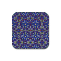 Colorful Ethnic Design Rubber Coaster (square)  by dflcprints