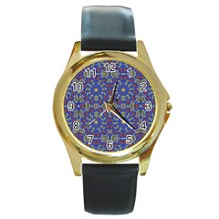 Colorful Ethnic Design Round Gold Metal Watch by dflcprints