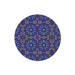 Colorful Ethnic Design Rubber Round Coaster (4 Pack)  by dflcprints