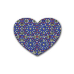 Colorful Ethnic Design Rubber Coaster (heart)  by dflcprints