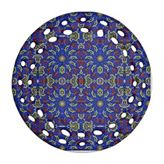 Colorful Ethnic Design Round Filigree Ornament (two Sides) by dflcprints